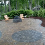 Belgard pavers and fire pit installed in New Hampshire. Certified Paver Installers. Paver installers in New Hampshire