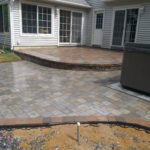 Pavers, Hot Tub, Retaining wall, Raised Patio