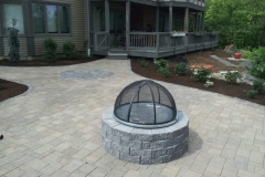 Belgard Paver Patio and Fire Pit overlooking Newfound Lake NH