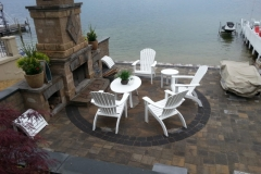 Belgard Pavers and fireplace installed by Natures Elite Landscaping Serving all of Belknap County and beyond