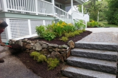 Granite steps, Paver walkway and new plantings installed in Wolfeboro, New Hampshire by Natures Elite Landscaping