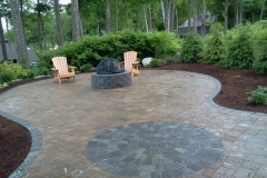 Paver patio and fire pit installed in New Hampshire, by Natures Elite Landscaping. ICPI Certified Paver installers serving all of New Hampshire.