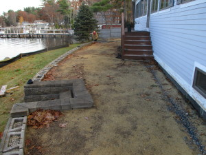 Before picture permeable paver patio Gilford New hampshire, Belknap County