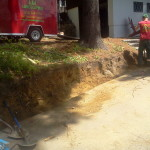 Before Picture, retaining wall excavation, Natures Elite landscaping N