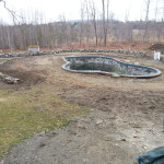 Paver pool deck before picture