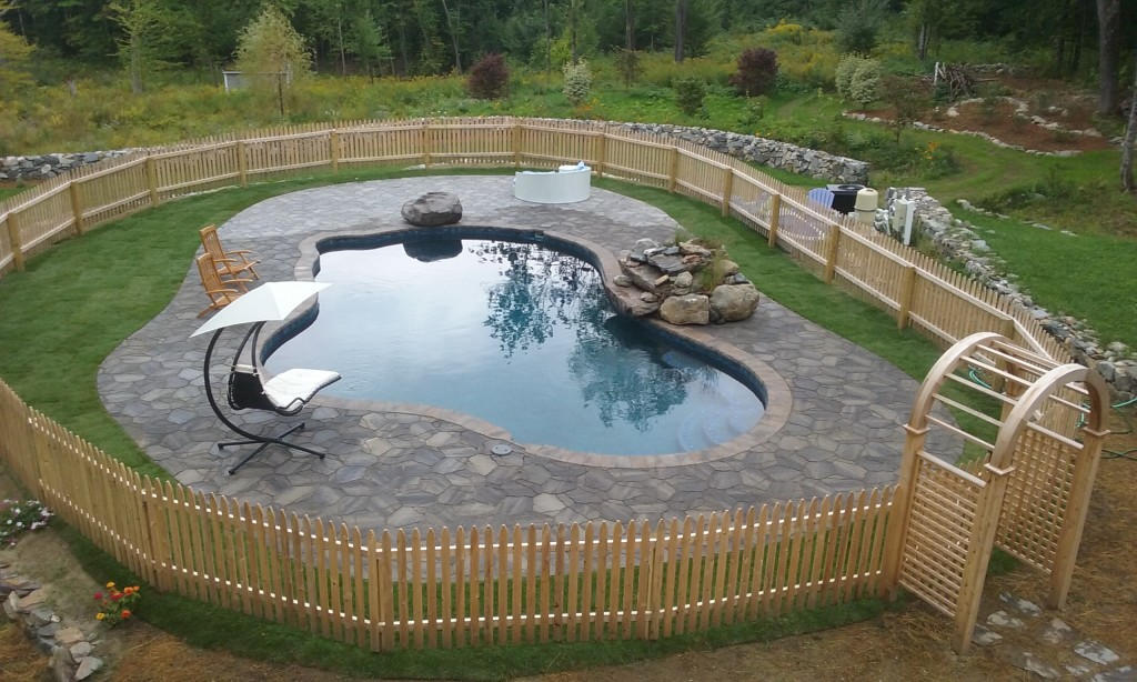 Pavers around a pool in New Hampshire